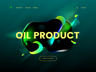 Landing page template with a green background color and abstract liquid shapes, can be used for gas, petrol, gasoline industries, as well as for branding ecology cleen fuel web sites.