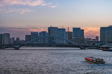 TOKYO, JAPAN - 14 FEB 2018: Tokyo skyline, Kachidoki bridge and ship sailing in Sumida river on