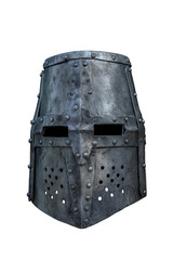 Old knight helmet isolated on white background. There is a way
