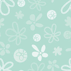 Vector mint green garden tea party themed seamless pattern background. Perfect for fabric, scrapbooking, giftwrap,  wall paper projects, stationary
