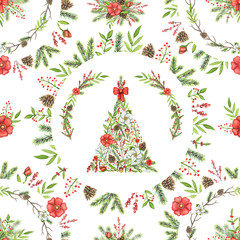 Seamless pattern with Christmas tree, branches, flowers, berries, cones, twigs and floral round compositions isolated on white background. Watercolor hand drawn illustration