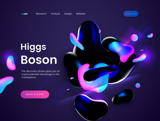 Landing page template with a dark scifi background - Boson Giggs, can be used for science, astronomy, quantum physics and space theme web sites.