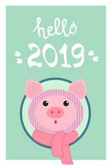 Funny pig and lettering for your design. Symbol of the new year 2019. Hand lettering typography