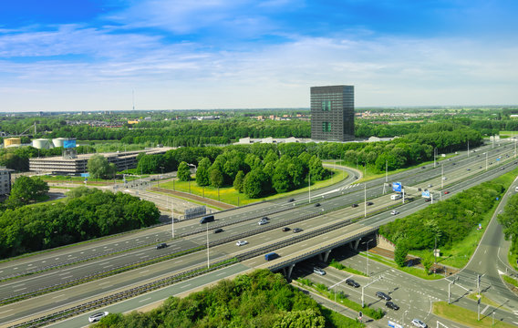 Aerial landscape view of motorway and city in Utrecht, the Netherlands