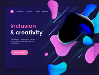 Dark landing page template with a liquid futuristic background - Inclusion and Creativity, can be used for innovation startup, development and creative dynamic web sites.