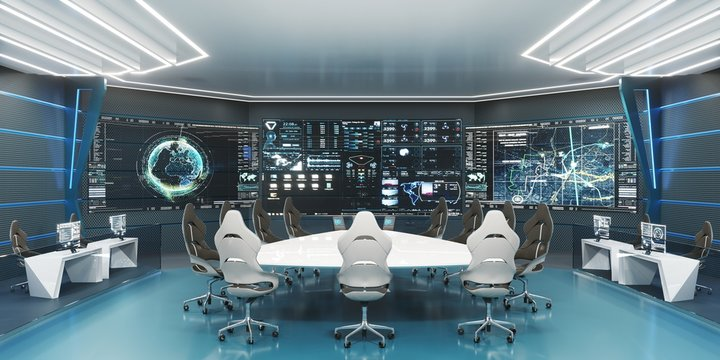 Command center interior, 3D rendering, futuristic conference room