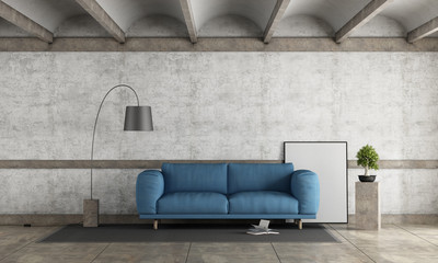 Old room with blue sofa
