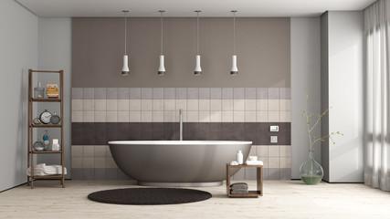 Brown bathtub in a elegant bathroom