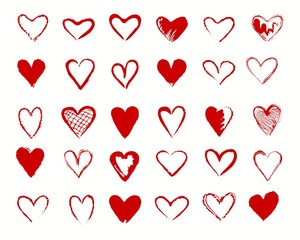 Hearts drawing. Vectors valentines heart shapes vector icons, loving hearted lovely handdrawn red signs isolated on white background