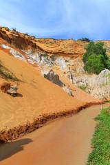 Orange sand cliffs in Fairy Stream, Vietnam