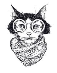 Vector Funny smart intelligent cat in glasses closeup. Portrait cool hipster cat in a winter scarf. Colored book vector illustration.