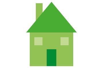 Casa de color verde sobre fondo blanco.