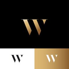 W letter. W gold logo. Royal jewelry emblem. Optical illusion gold monogram. Gold W logo on a dark background. Monochrome option.