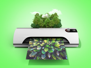 Modern high resolution wide format printing concept The real forest is transformed into an image passing through the printer 3d render on green