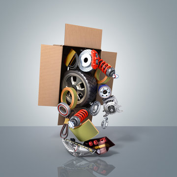 modern concept of vehicle maintenance automotive supplies delivery car parts in open box 3d render on a blue