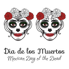 Catrina woman with make up of sugar skull. Dia de los muertos. Mexican Day of the dead. Vector illustration hand drawing