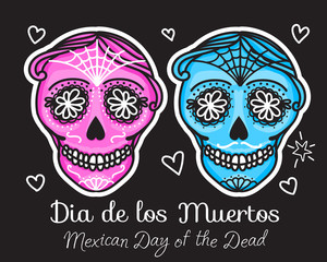 Calavera sign Dia de los muertos. Mexican Day of the dead. Vector hand darwing illustration woman and man sticker