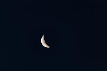 Big crescent moon in dark blue sky