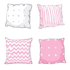 Vector cartoon decorative pillows. Hand drawn set of decorative pillows. Doodle illustration