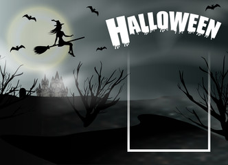 Halloween background with flying young witch and full moon. Fantasy night panoramic view with frame. Vector