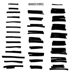 Black highlight marker stripes isolated on white background. Vector design elements.