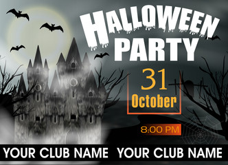 Halloween Party template invitation or poster and banner with gothic castle and full moon. Vector