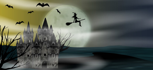 Halloween background with flying young witch, castle, bats and full moon. Vector