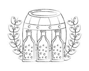 beer barrel and bottles drink emblem