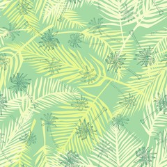 Palm tree pattern. Seamless hand drawn textures on exotic trendy background. Nature textile print. Modern tropical template for web, card, placard, poster, cover, flyer, invitation, brochure, banner.