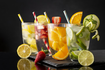 Cold fruity infused waters