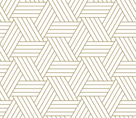 Modern simple geometric vector seamless pattern with gold line texture on white background. Light abstract wallpaper, bright tile backdrop.