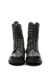 Israeli army boots against white background