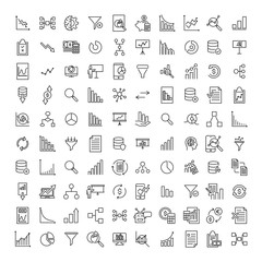 Set of premium analysis icons in line style.
