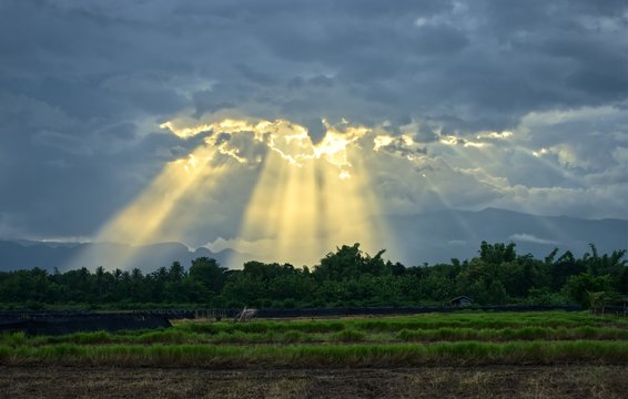 Sunbeam in cloudy sky over rice fields and mountain background : Thailand