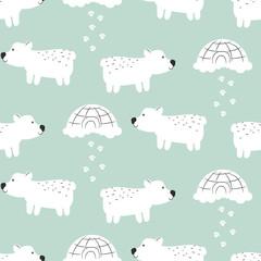Polar bear cute seamless vector pattern.