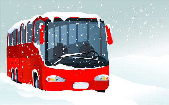 Winter transport issues. Hello winter background.
