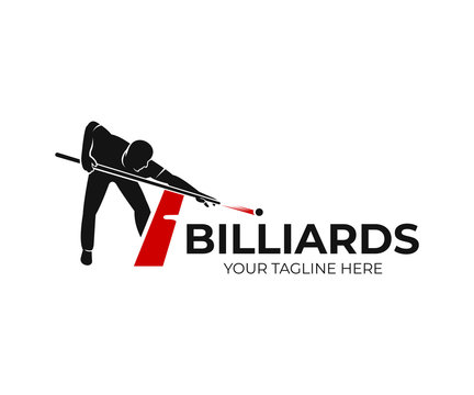 Pool billiards, human next to red table with snooker cues and balls, logo design. Billiards sport game and tournament with player, vector design and illustration