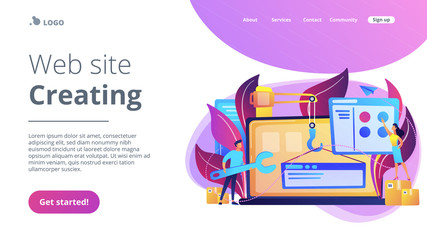 It professionals are creating web site on the laptop screen. Website development or web application, coding, designing for web browsers concept. Violet palette. Website landing web page template. Wall mural