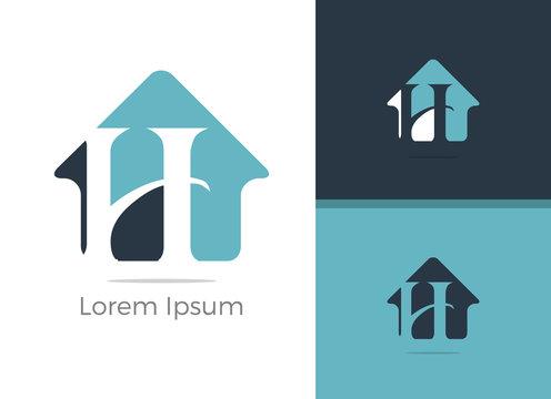 Real Estate H letter logo design, letter h in home vector icon.
