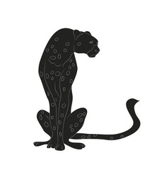 cheetah sitting drawing silhouette, vector