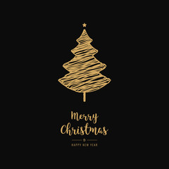 Golden christmas tree scribble drawing greetings black background
