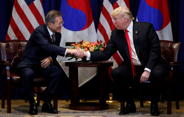 U.S. President Trump holds a bilateral meeting with South Korean President Moon on the sidelines of the 73rd United Nations General Assembly in New York