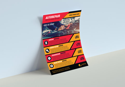 Red and Orange Flyer Layout with Black Borders