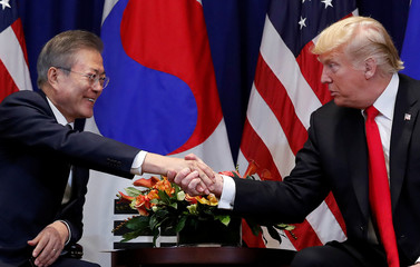 U.S. President Trump holds bilateral meeting with South Korean President Moon on the sidelines of the 73rd United Nations General Assembly in New York