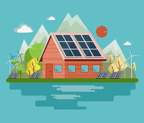 Wind turbines and solar panels produce electricity for the city. Vector illustration.