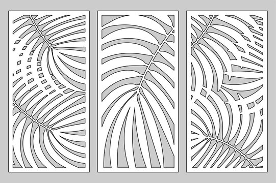 Set Decorative card for cutting. Leaves foliage palms fern  pattern. Laser cut. Ratio 1:2. Vector illustration.