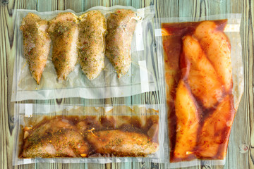 Vacuum packed portions of lean chicken breast