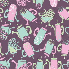 Vector mauve garden tea party fumky teapots seamless pattern background. Perfect for fabric, scrapbooking, giftwrap,  wall paper projects, stationary,