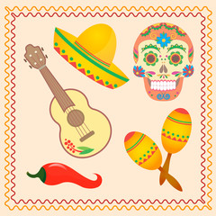 Symbolic illustrations for the Mexican holiday Dia de los Muertos.