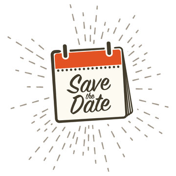 """Save the Date"" Retro Icon with Handwriting, Vector Illustration"